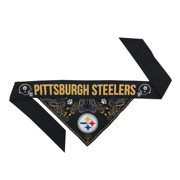 Little Earth Productions Dog-products NFL Small Pittsburgh Steelers Pet Reversible Paisley Bandana