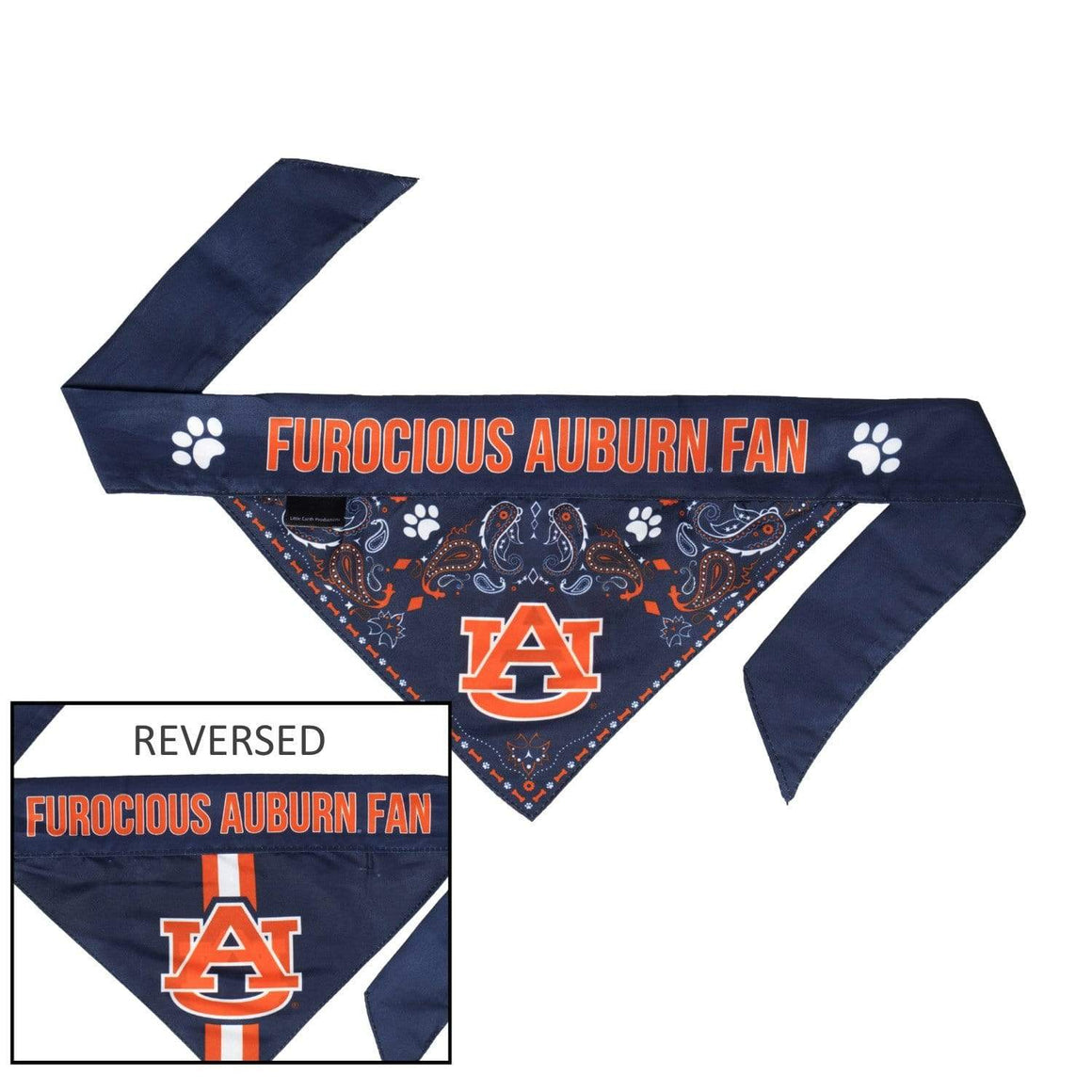 Little Earth Productions Dog-products NCAA Large Auburn Tigers Pet Reversible Paisley Bandana