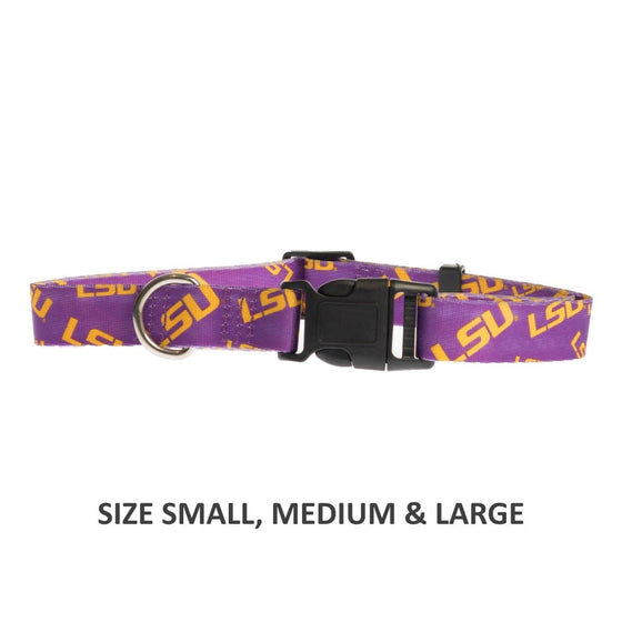 Little Earth Productions Dog-products NCAA Medium Lsu Tigers Pet Nylon Collar