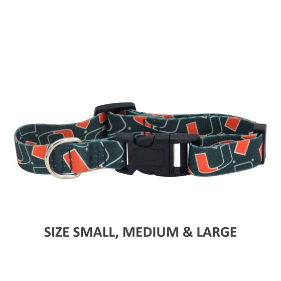 Little Earth Productions Dog-products NCAA Medium Miami Hurricanes Pet Nylon Collar