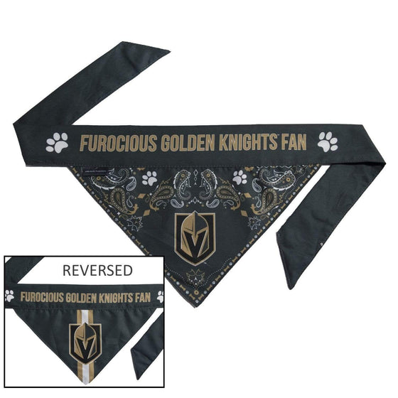 Little Earth Productions Dog-products NHL Medium Vegas Golden Knights Pet Reversible Paisley Bandana