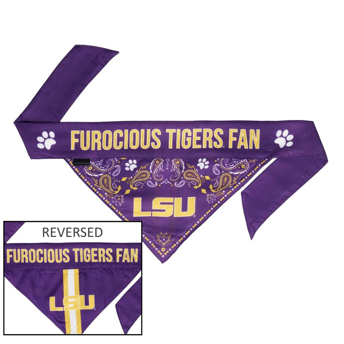 Little Earth Productions Dog-products NCAA Small Lsu Tigers Pet Reversible Paisley Bandana