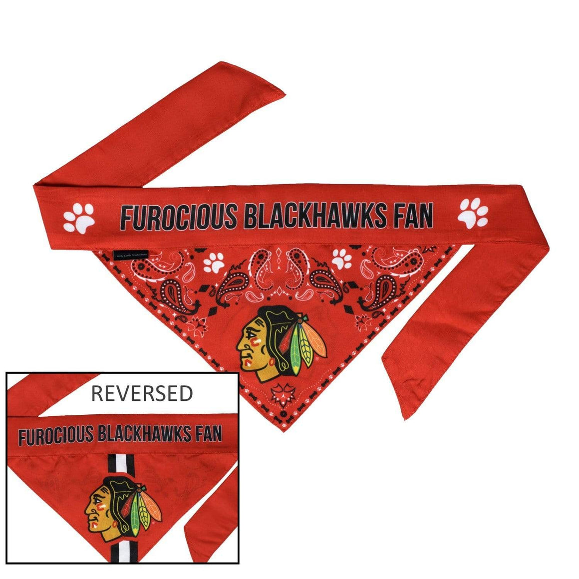 Little Earth Productions Dog-products NHL Small Chicago Blackhawks Pet Reversible Paisley Bandana