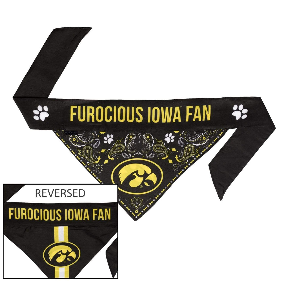 Little Earth Productions Dog-products NCAA XL Iowa Hawkeyes Pet Reversible Paisley Bandana