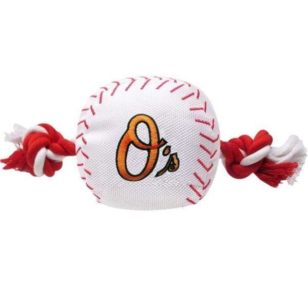 Pets First Dog-products MLB Baltimore Orioles Nylon Baseball Rope Tug Toy
