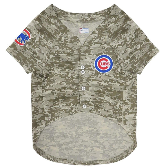 Pets First Dog-products MLB Small Chicago Cubs Pet Camo Jersey