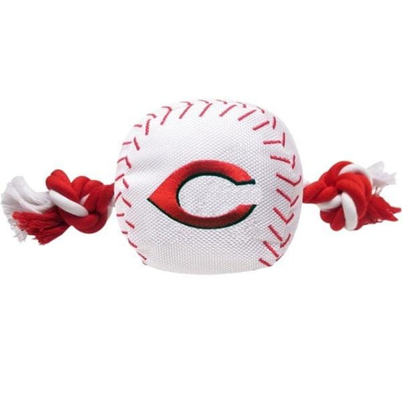 Pets First Dog-products MLB Cincinnati Reds Nylon Baseball Rope Tug Toy