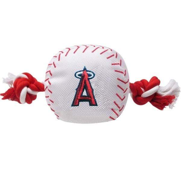 Pets First Dog-products MLB Los Angeles Angels Nylon Baseball Rope Tug Toy