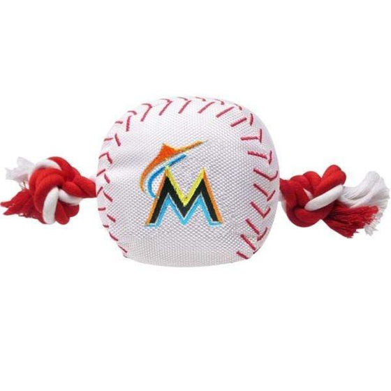 Pets First Dog-products MLB Miami Marlins Nylon Baseball Rope Tug Toy
