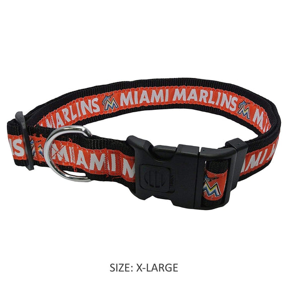 Pets First Dog-products MLB Medium Miami Marlins Pet Collar By Pets First