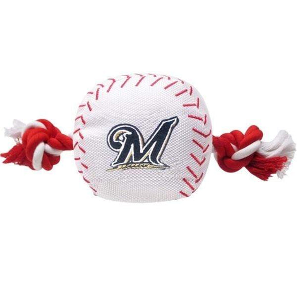 Pets First Dog-products MLB Milwaukee Brewers Nylon Baseball Rope Tug Toy