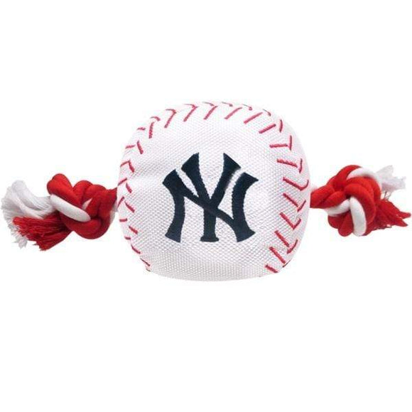 Pets First Dog-products MLB New York Yankees Nylon Baseball Rope Tug Toy