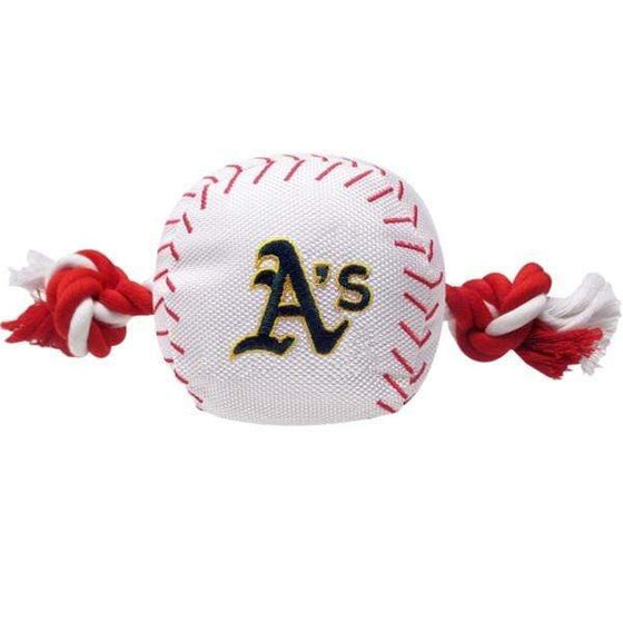 Pets First Dog-products MLB Oakland A's Nylon Baseball Rope Tug Toy