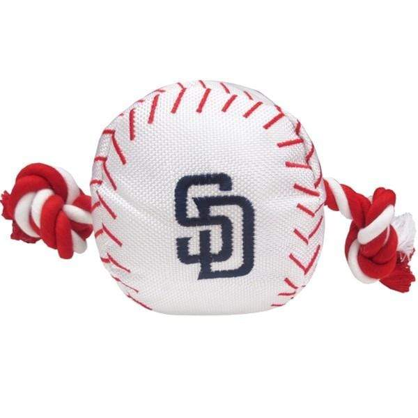 Pets First Dog-products MLB San Diego Padres Nylon Baseball Rope Tug Toy