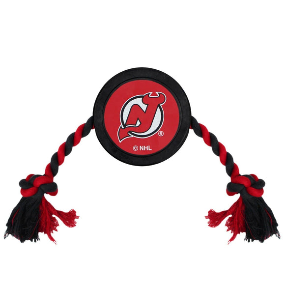 Pets First Dog-products NHL New Jersey Devils Pet Hockey Puck Rope Toy