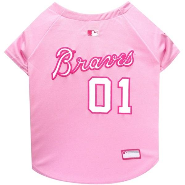 Pets First Dog-products MLB Large Atlanta Braves Pink Pet Jersey