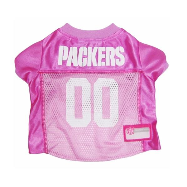 Pets First Dog-products NFL Medium Green Bay Packers Pink Dog Jersey