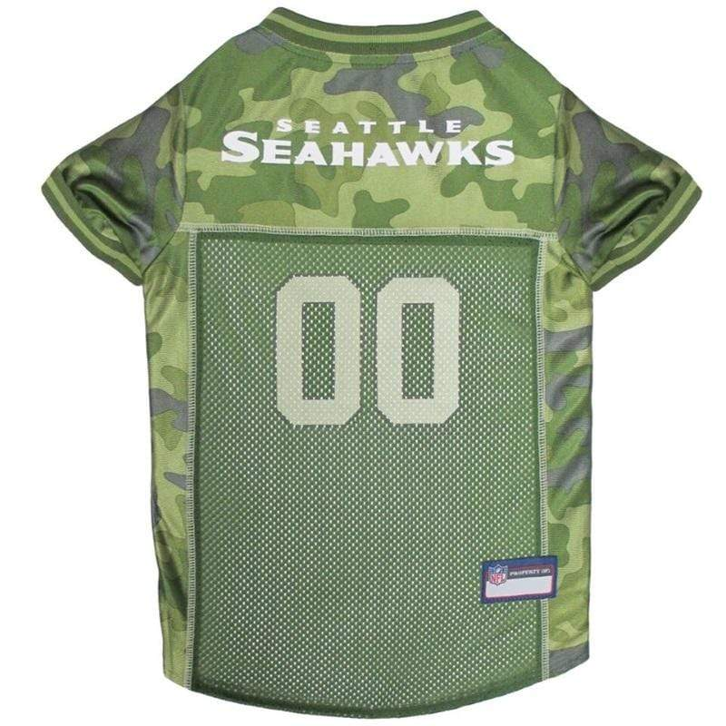 Pets First Dog-products NFL Medium Seattle Seahawks Pet Camo Jersey