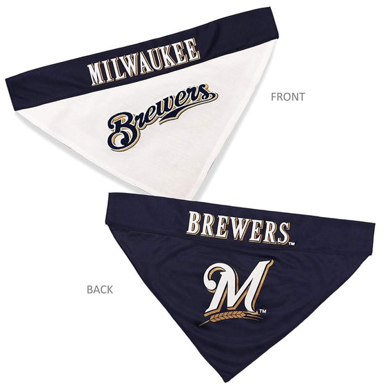 Pets First Dog-products MLB S/M Milwaukee Brewers Pet Reversible Bandana