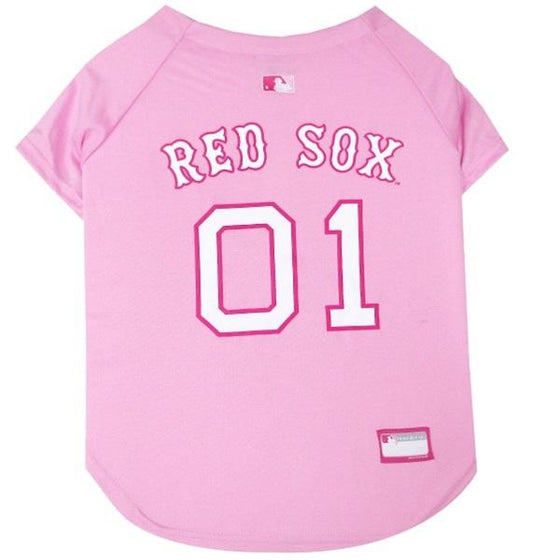 Pets First Dog-products MLB Small Boston Red Sox Pink Pet Jersey