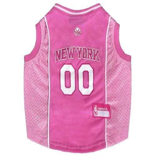 Pets First Dog-products NBA XS New York Knicks Pink Pet Jersey