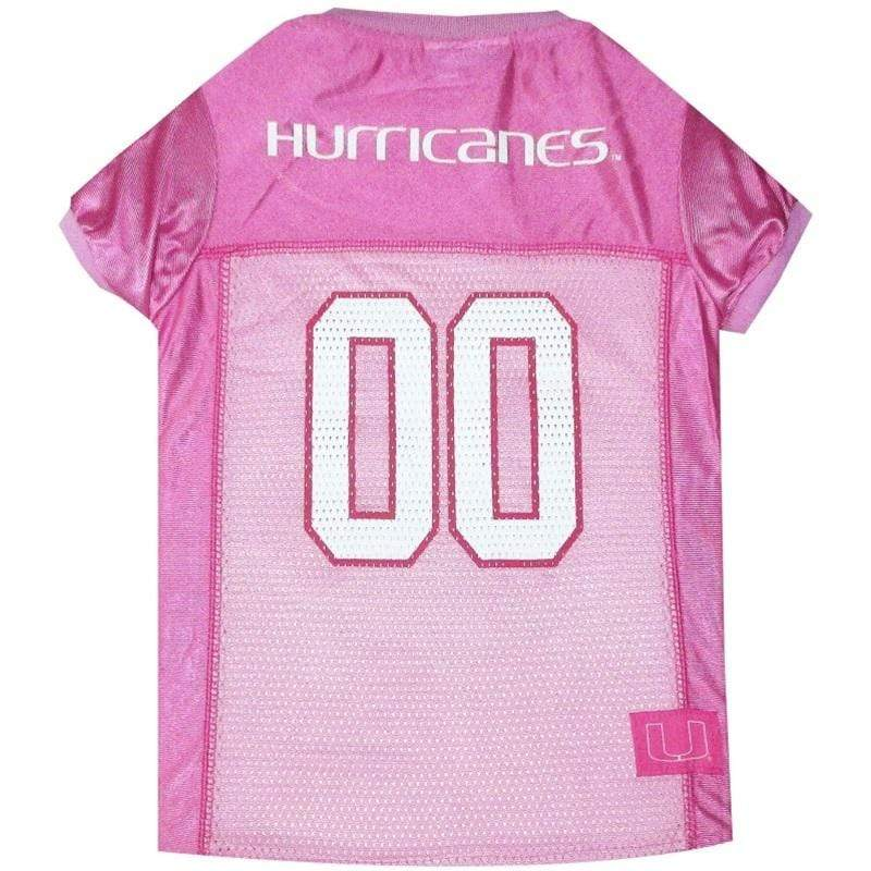 Pets First Dog-products NCAA XS Miami Hurricanes Pink Pet Jersey
