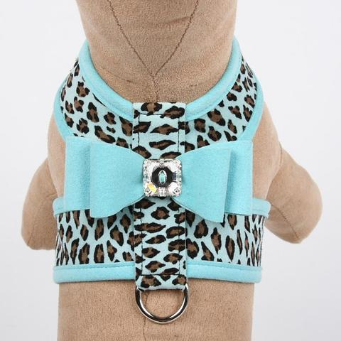 Susan Lanci Dog-products Cheetah Couture Tinkie Harness with Contrasting Big Bow & Trim