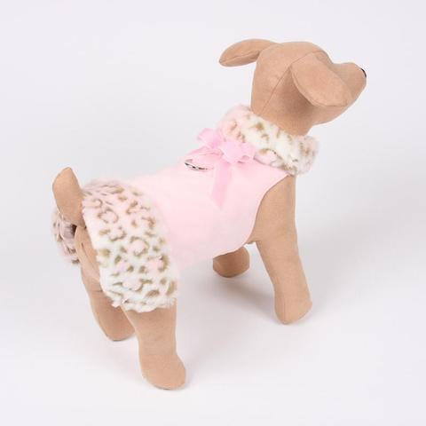 Susan Lanci Dog-products Fur Coat Pink Lynx with Pink Velvet Bow