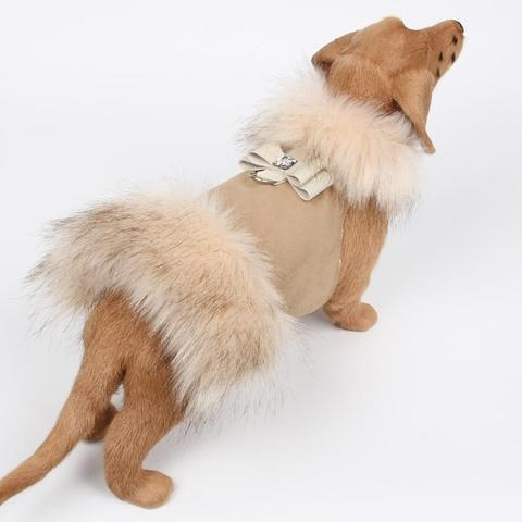 Susan Lanci Dog-products Ivory Fox Fur Coat with Big Bow