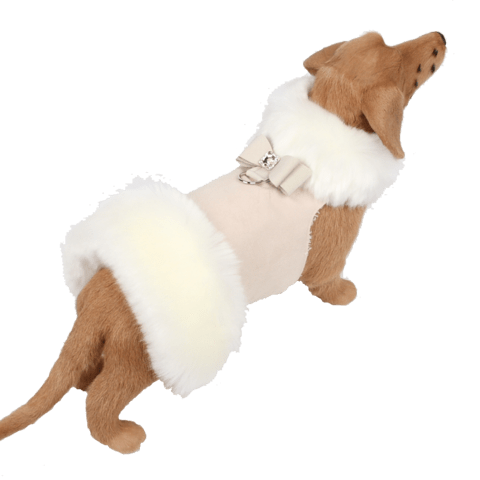 Susan Lanci Dog-products White Fox Fur Coat with Big Bow