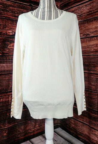 Ivory Sweater with Button Sleeves