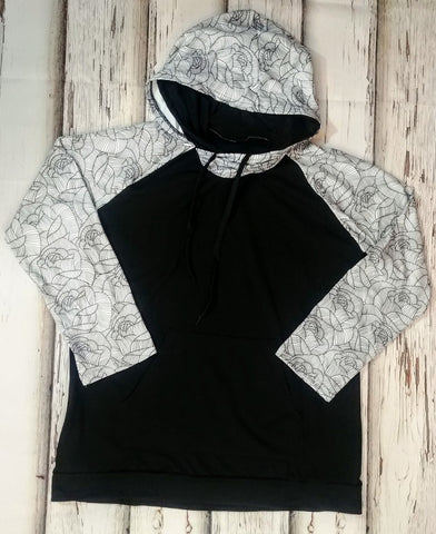 Black and White Rose Hoodie