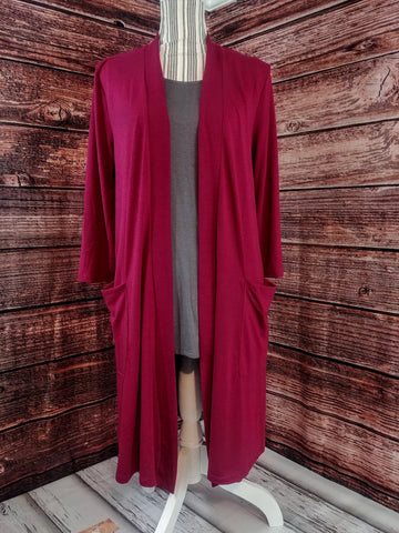 Burgundy Mid Length Cardigan