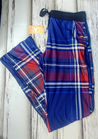 Blue and Red Plaid Lounge Pants