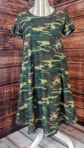 Custom  Camo Short Sleeve Dress With Pockets