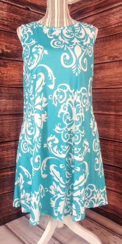 Sleeveless Blue Flor-de-lie Dress