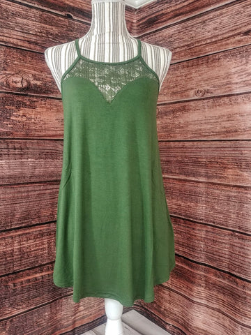 Lace Tank Top (Army Green)