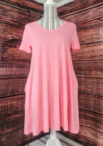 V-Neck Tunic w/ Pockets (Rose)