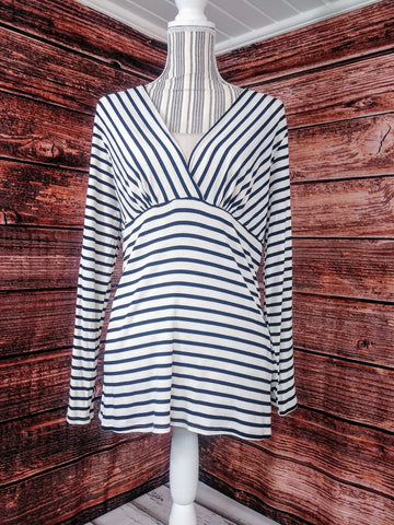 Black and White Stripe Plus Size Shirt