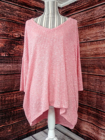Over Sized Sheer Pink Sweater (w/ Pockets)