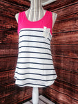 Stripe Tank with Lace Pocket (Pink)