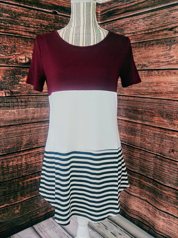 Block Color Top w/ Stripes (Dark Burgundy)