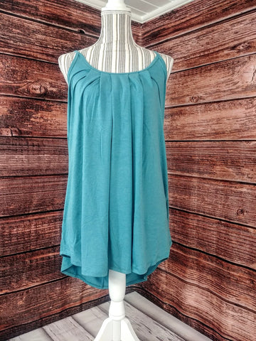 Pleated Tank (Dusty Teal)