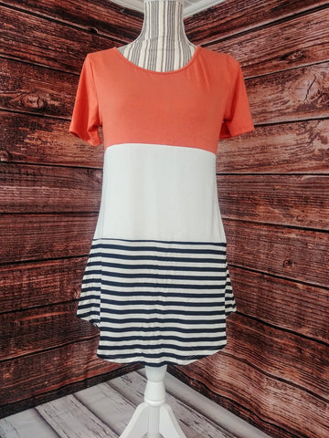 Block Color Top w/ Stripes (Ash Copper)