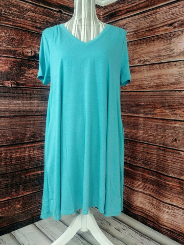 V-Neck Tunic w/ Pockets (Ash Mint)