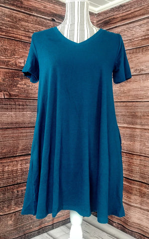 V-Neck Tunic w/ Pockets (Dark Teal)