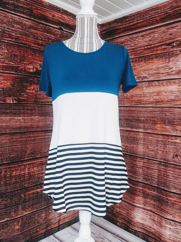 Block Color Top w/ Stripes (Dark Teal)