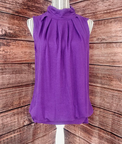 High Neck Pleated Top (Purple)
