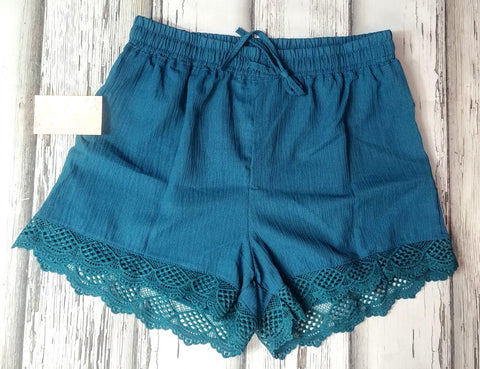 Teal Shorts with Lace Trim