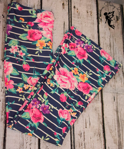Floral Striped Yoga Pants
